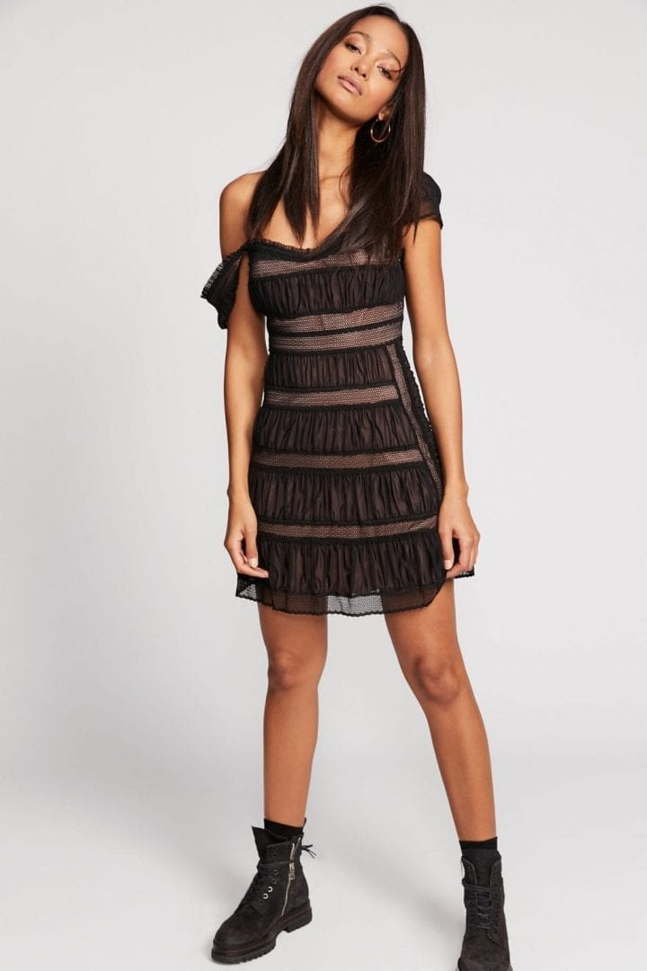 FREEPEOPLE Alicia Lace Mini Black Dress