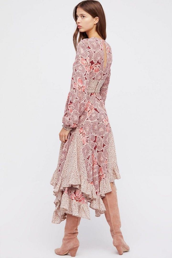 FREEPEOPLE Bohemian Mixed Print Midi Poppy Dress - We Select Dresses
