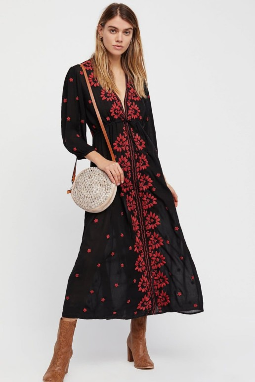FREEPEOPLE Embroidered Fable Onyx Combo Dress