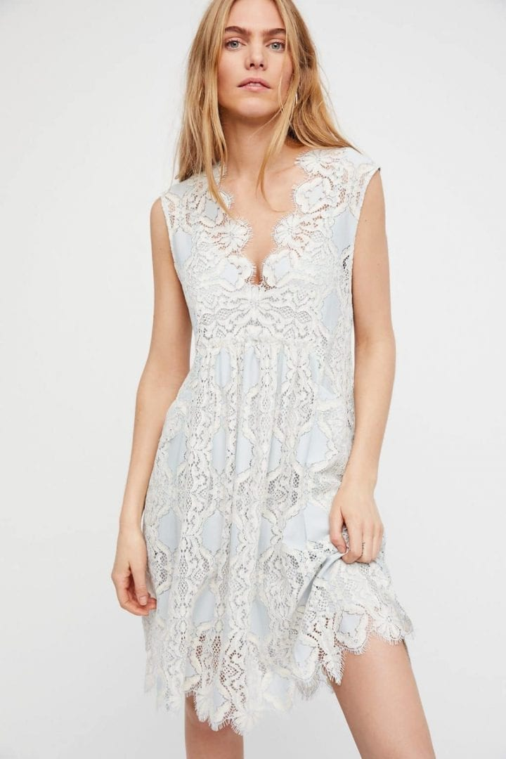 FREEPEOPLE Forget Me Not Mini Pale Blue Combo Dress