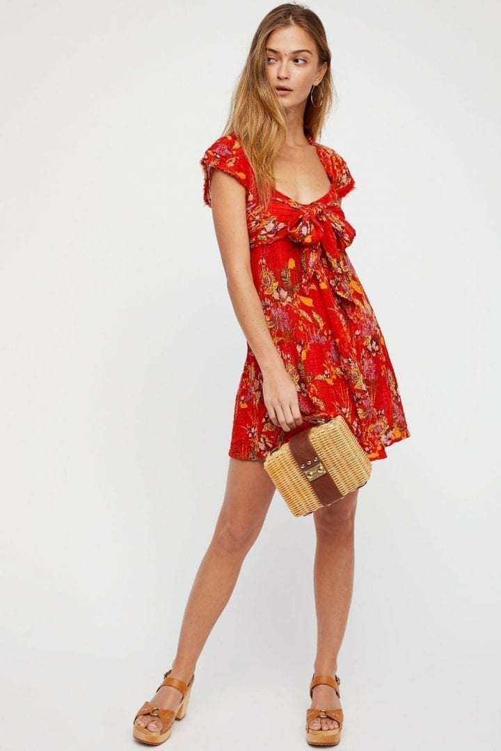 FREEPEOPLE Maia Striped Wrap Red / Floralprinted Dress