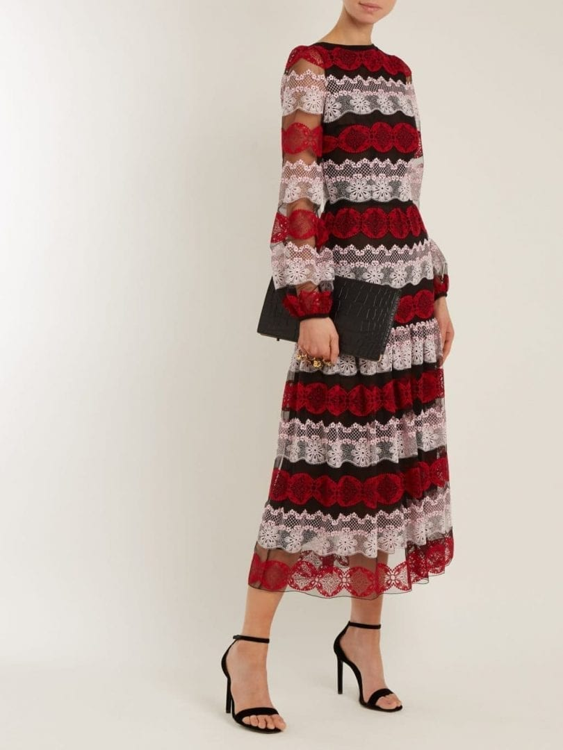 GIAMBATTISTA VALLI Contrast-panel Long-sleeved Lace Multi Color Dress