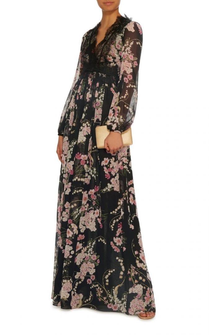 GIAMBATTISTA VALLI Maxi Black / Floral Printed Dress