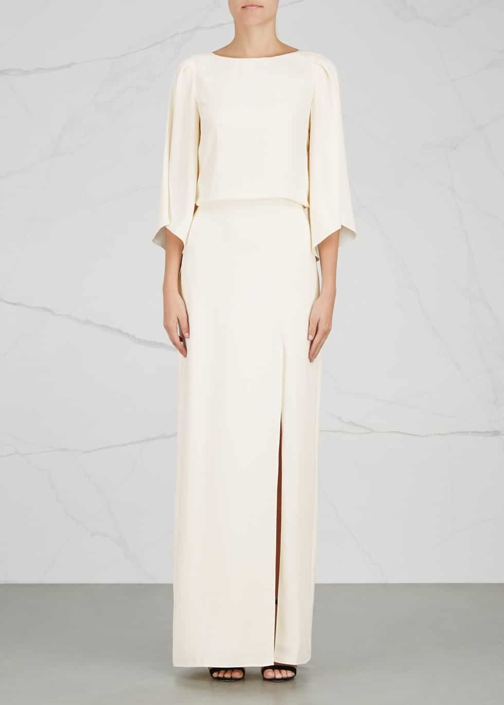 Halston Heritage Embroidered Ivory Gown