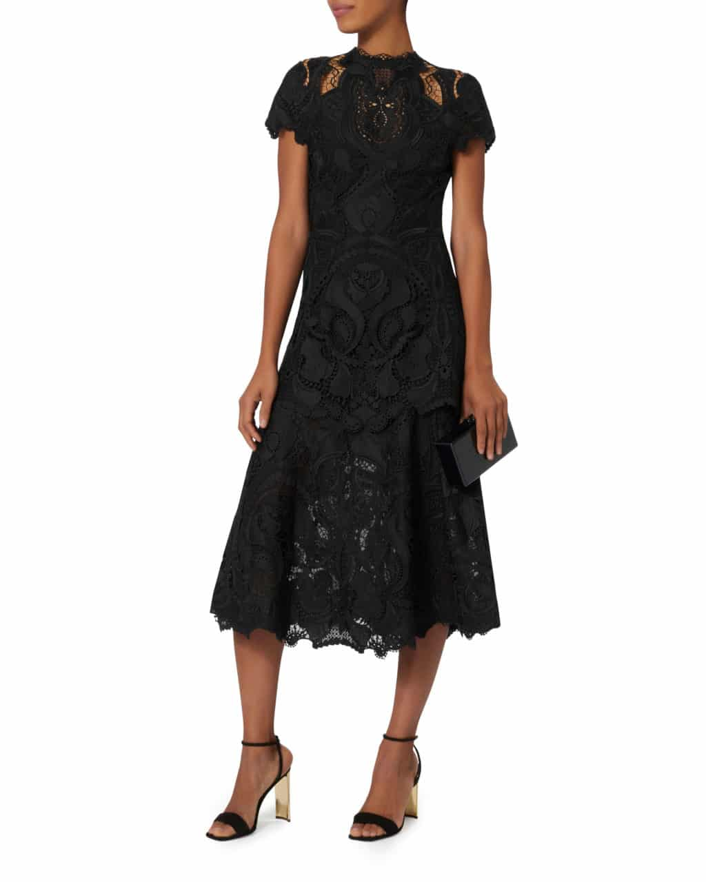 JONATHAN SIMKHAI Crepe Appliqué Midi Black Dress