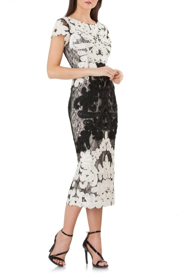 JS COLLECTIONS Soutache Lace Midi Ivory / Black Dress
