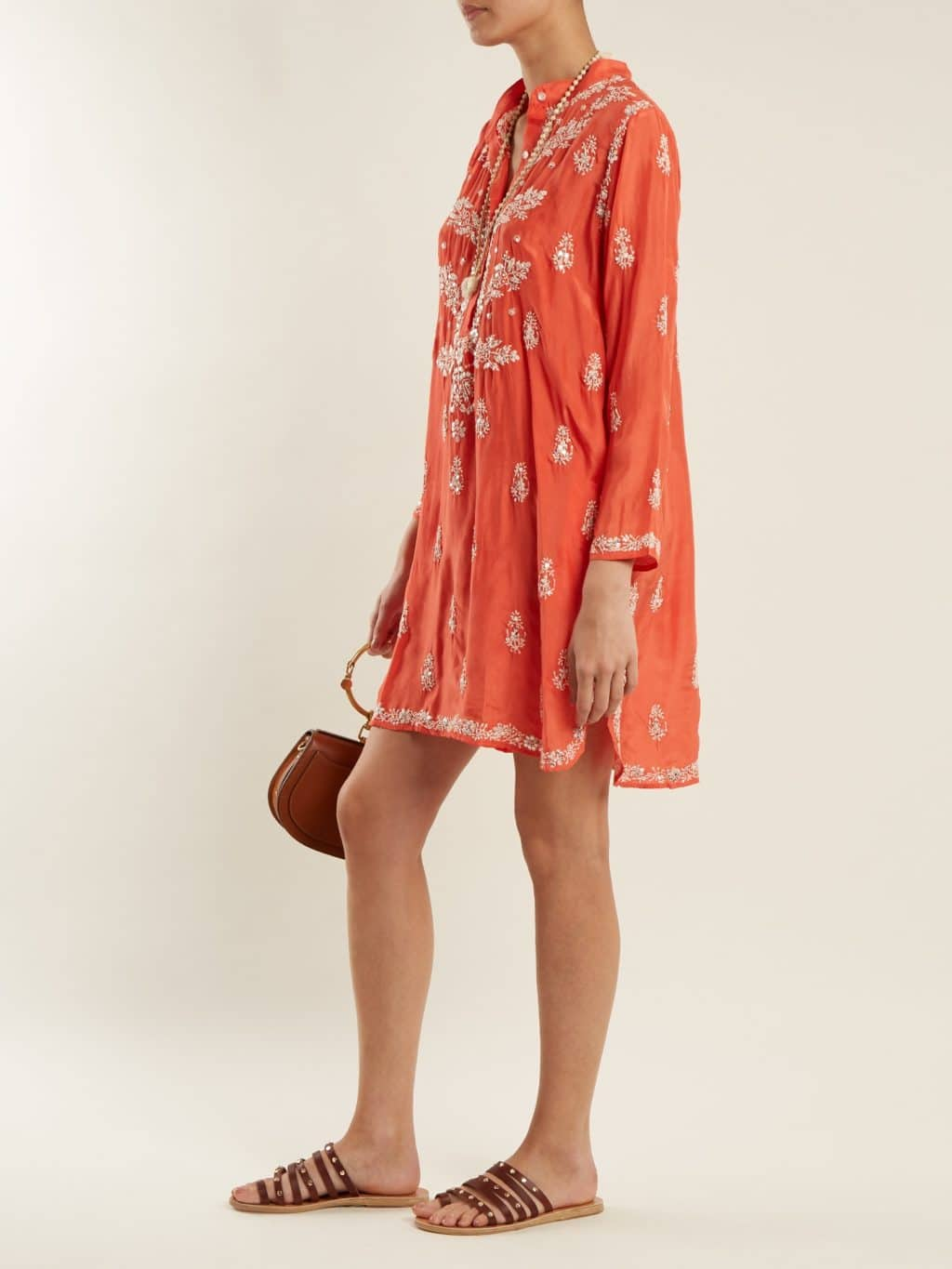 Juliet Dunn Floral Embroidered Silk Coral Red Shirtdress We Select