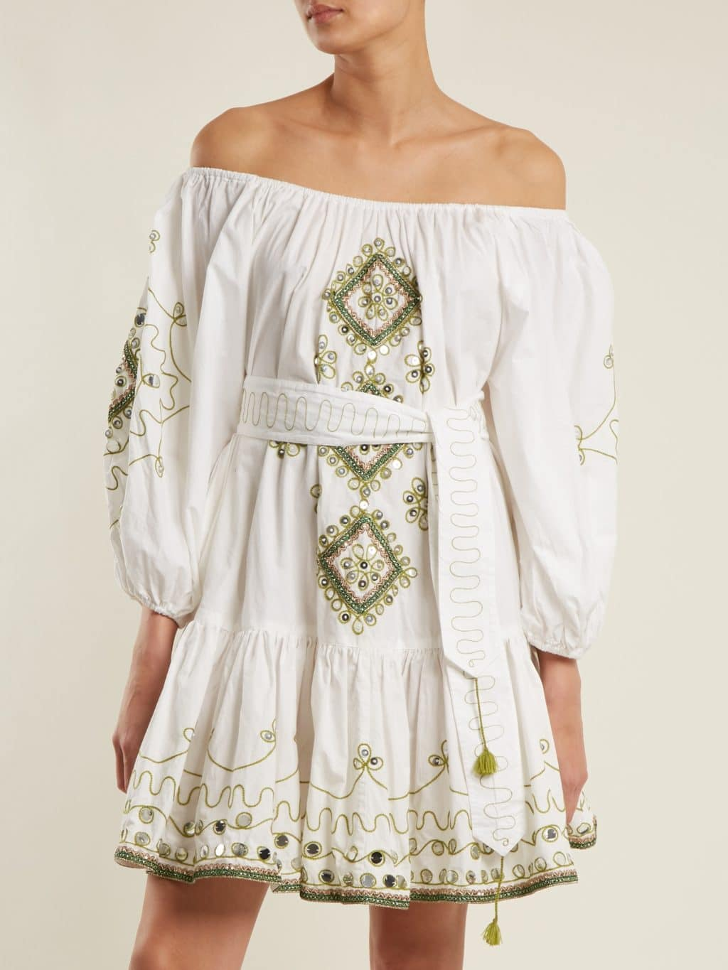 24cca1e0 JULIET DUNN Sequin-embellished Embroidered Cotton White Dress - We ...