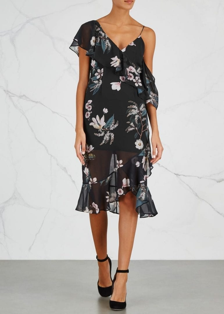 KEEPSAKE Cosmic Girl Floral-print Chiffon Black Dress