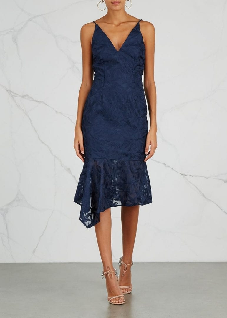 KEEPSAKE Plain Sight Embroidered Organza Midi Navy Dress