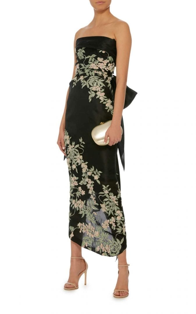 MARCHESA Cherry Blossom Embroidered Black Gown