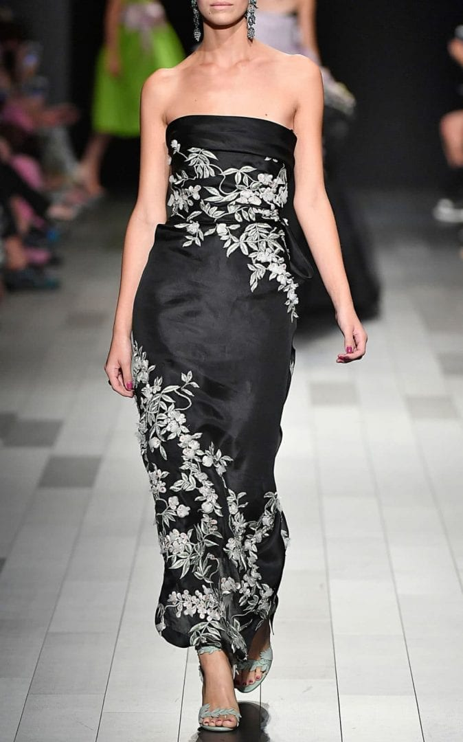 MARCHESA Cherry Blossom Embroidered Black Gown - We Select Dresses