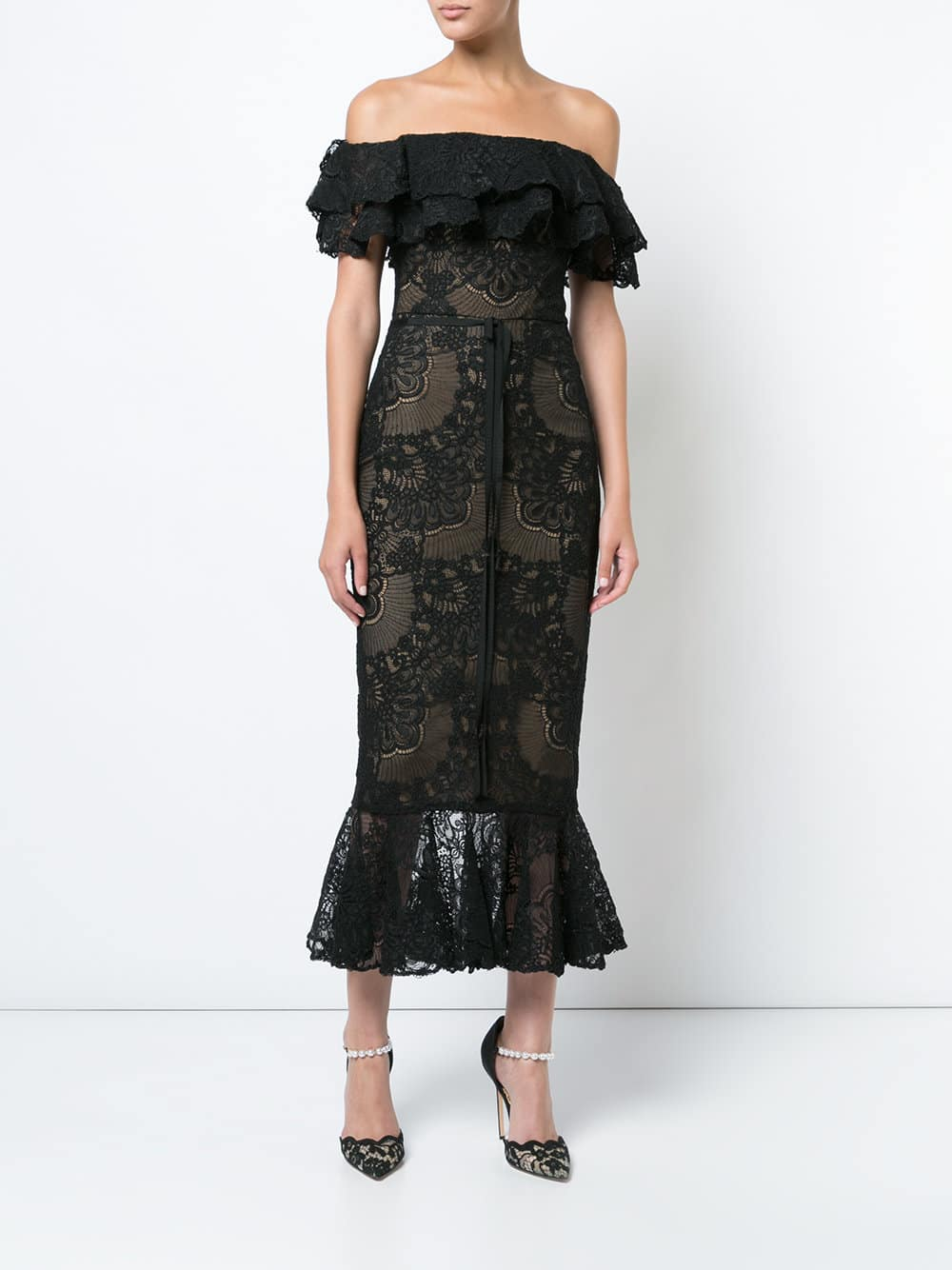 MARCHESA NOTTE Off Shoulder Fitted Black Dress
