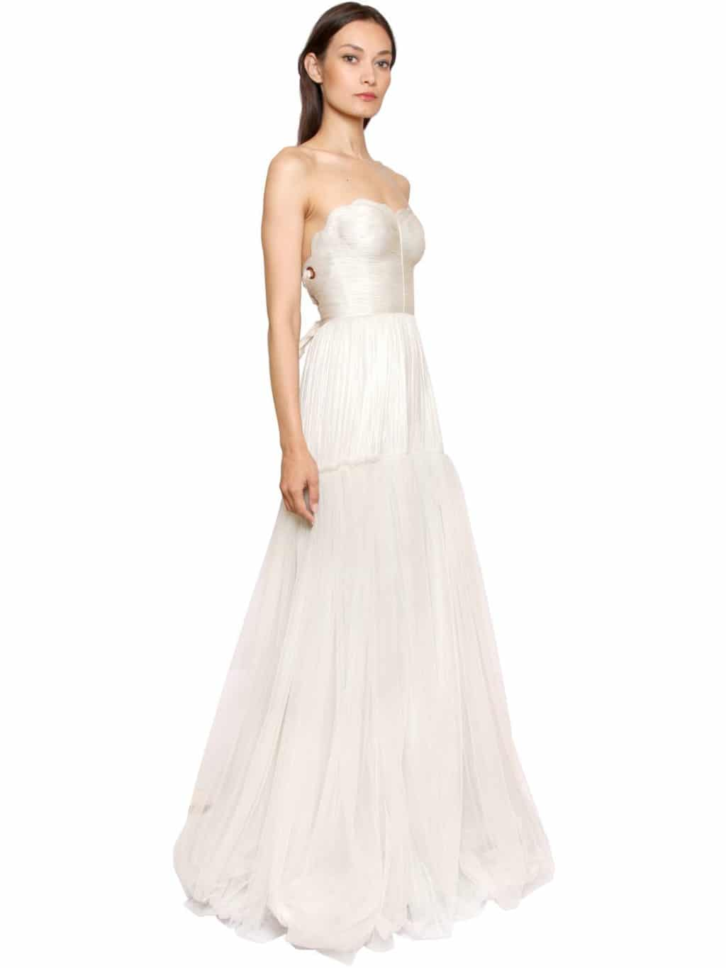 MARIA LUCIA HOHAN Laminated Silk Tulle Ivory Gown