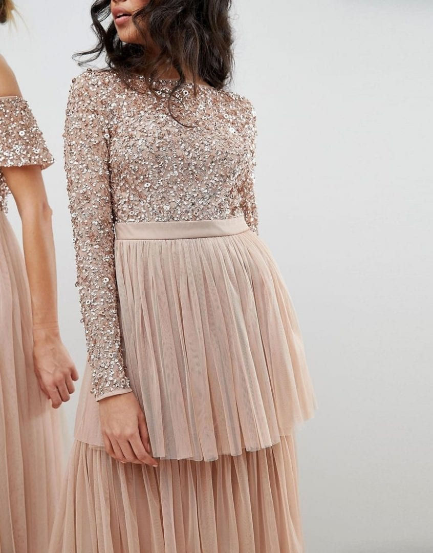 420cf2ebc8 MAYA Tiered Tulle Skirt Long Sleeve Sequin Top Midi Taupe Blush Dress