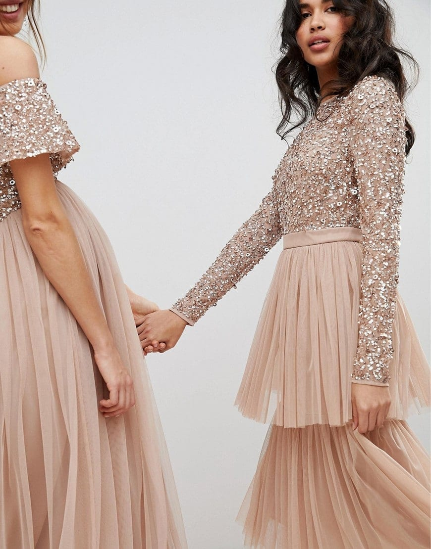 Maya Tiered Tulle Skirt Long Sleeve Sequin Top Midi Taupe Blush Dress