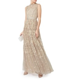 NEEDLE & THREAD Clover-Embellished Beige / Khaki Gown