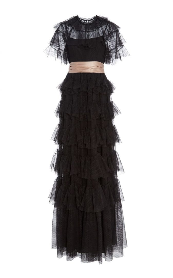 NEEDLE & THREAD Scallop Tulle Ruffle Black Gown