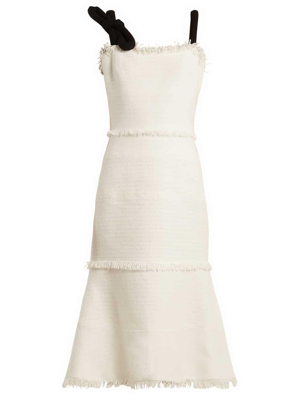 OSCAR DE LA RENTA Fringe Trimmed Sleeveless Tweed Ivory Dress - We ...