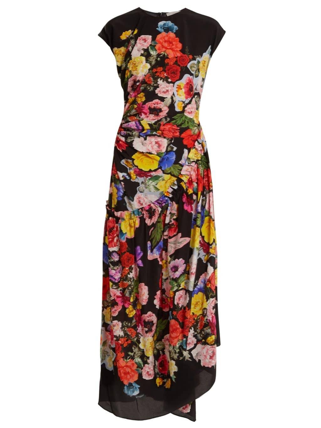 PREEN BY THORNTON BREGAZZI Lavender Round-neck Silk Black / Floralprinted Dress