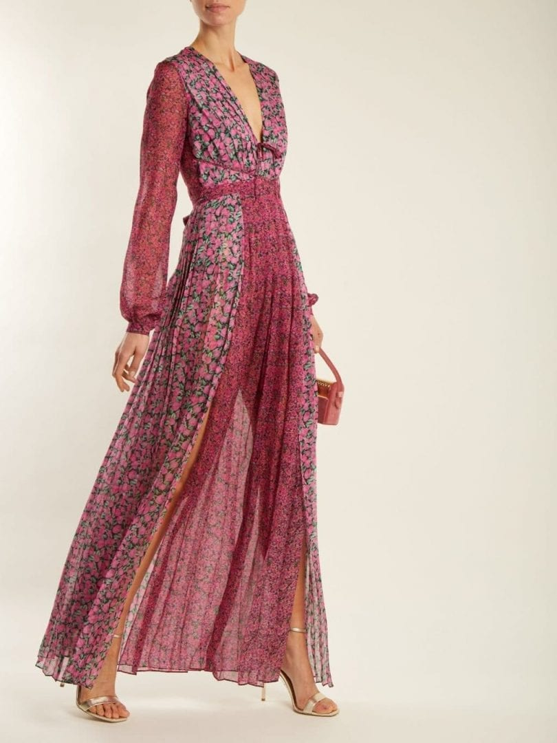 RAQUEL DINIZ Lily Floral Print Tonal Pink Gown - We Select Dresses