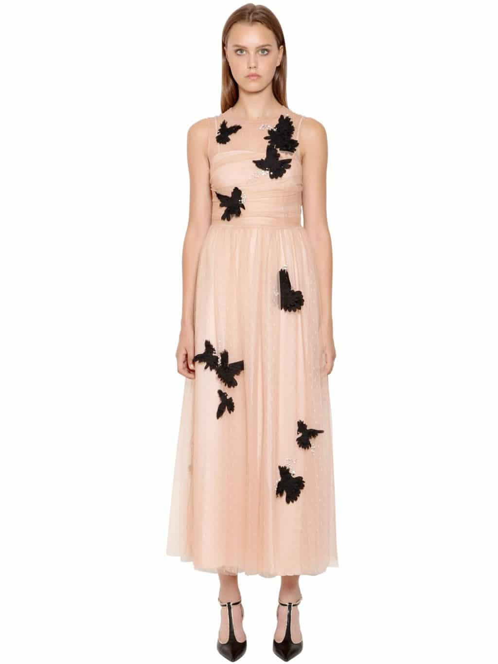9e3a6b8fb8f RED VALENTINO Embellished Swiss Dot Lace Pink Dress - We Select Dresses