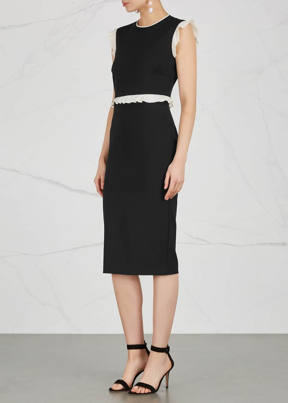 RED VALENTINO Ruffle Trimmed Black Dress