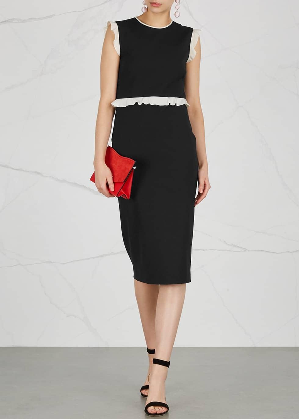 25e2e45932c RED VALENTINO Ruffle Trimmed Black Dress - We Select Dresses