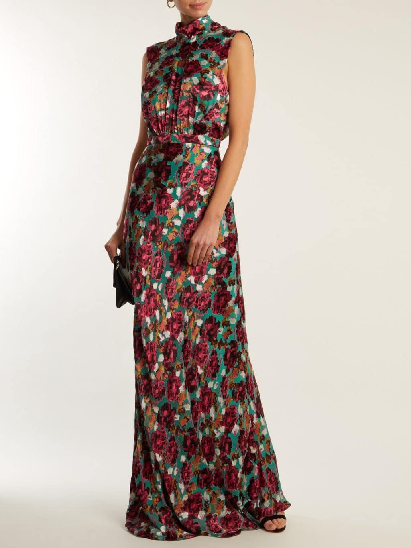 SALONI Fleur Floral Devoré High-neck Teal Green Gown - We Select Dresses