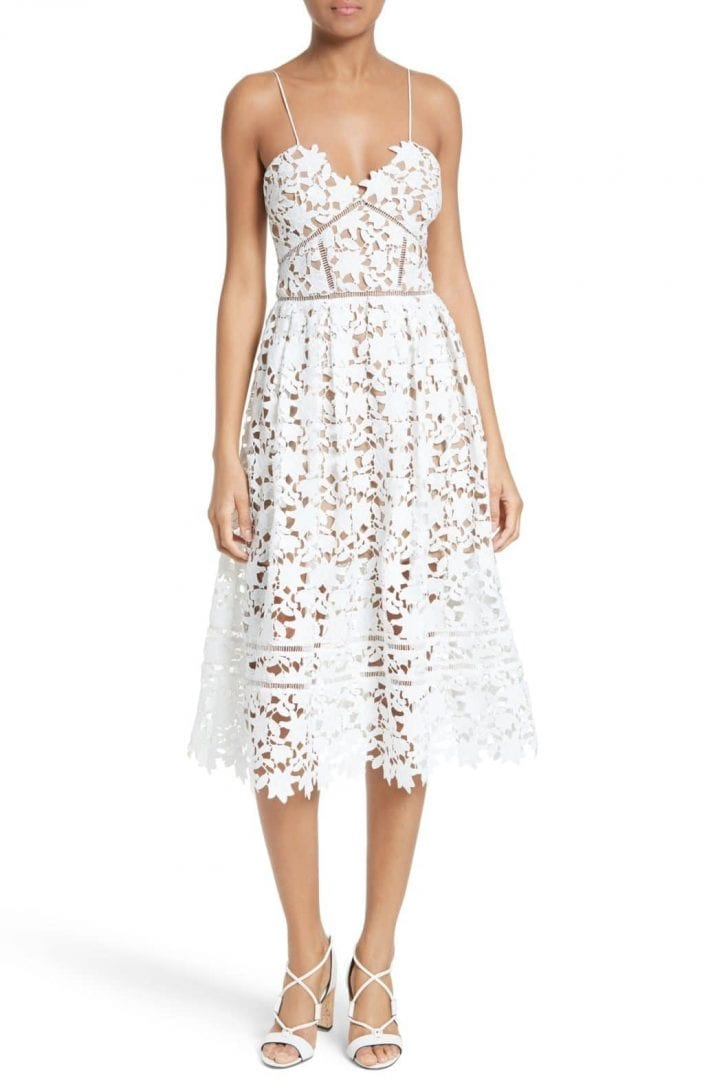 SELF-PORTRAIT Azaelea' Lace Fit & Flare White Dress