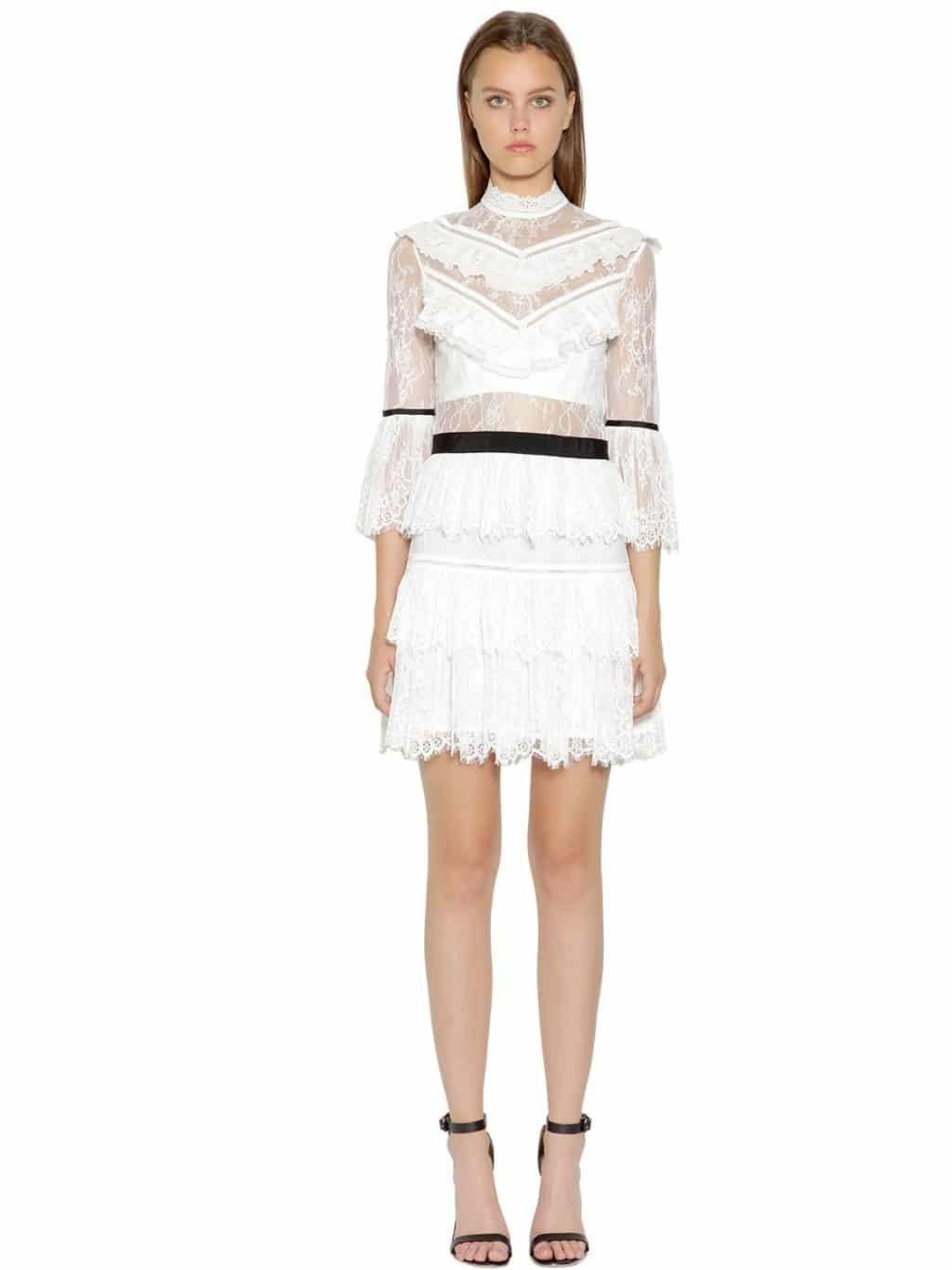 SELF-PORTRAIT Fine Lace Mini White Dress