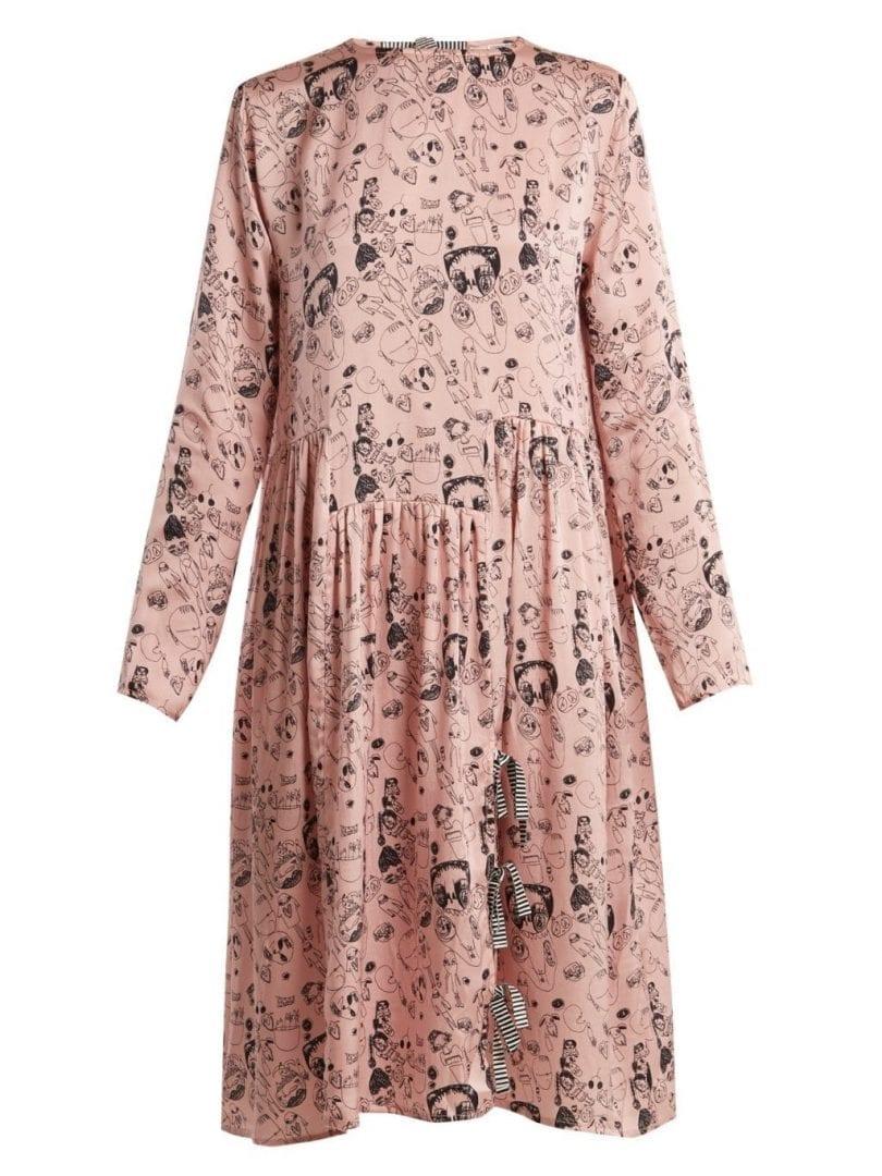 SHRIMPS Heather Doodle Print Silk Blossom Pink Dress