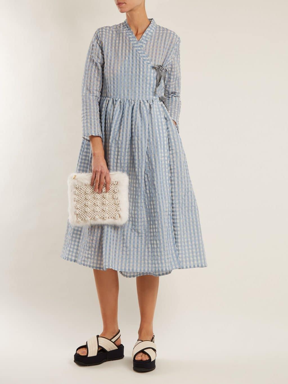 SHRIMPS Hermione Gingham Wrap Tonal Blue Dress
