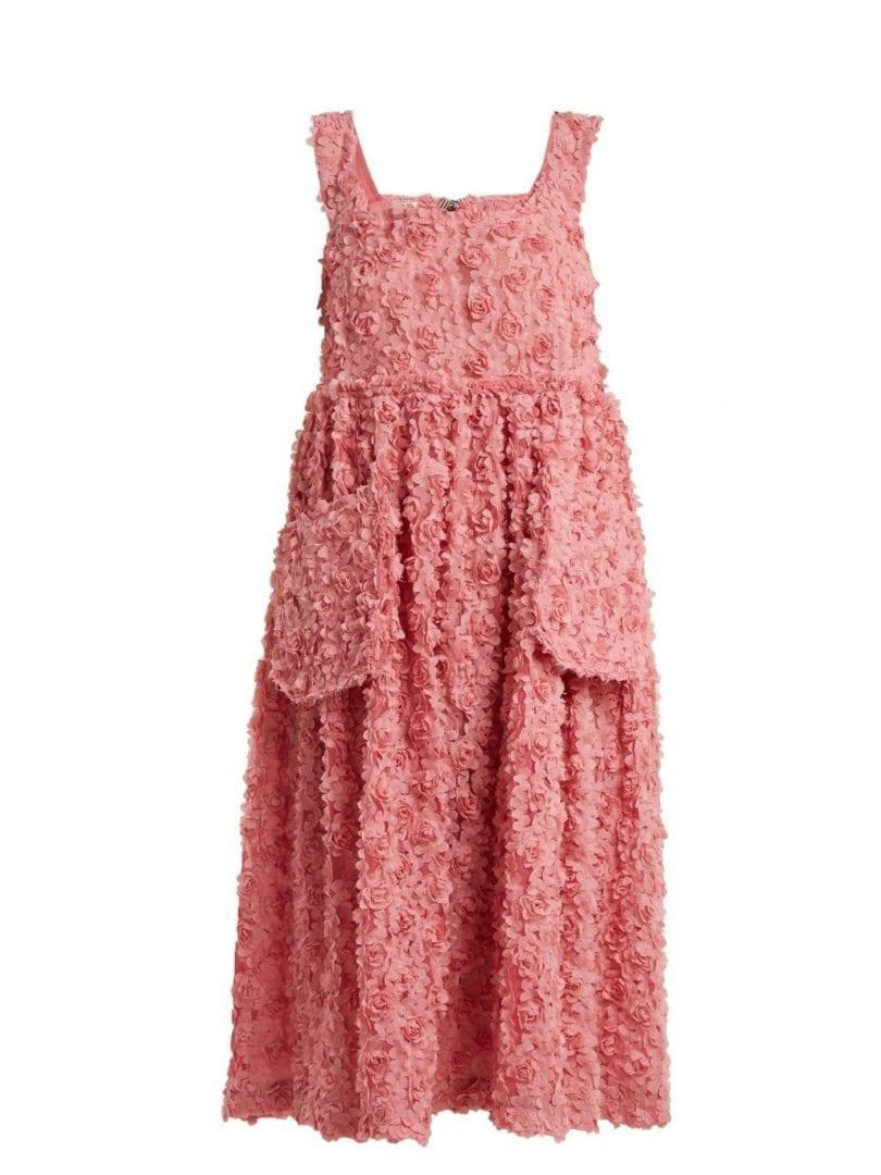 SHRIMPS Iris Floral-embroidered Organza Dusky Pink Dress