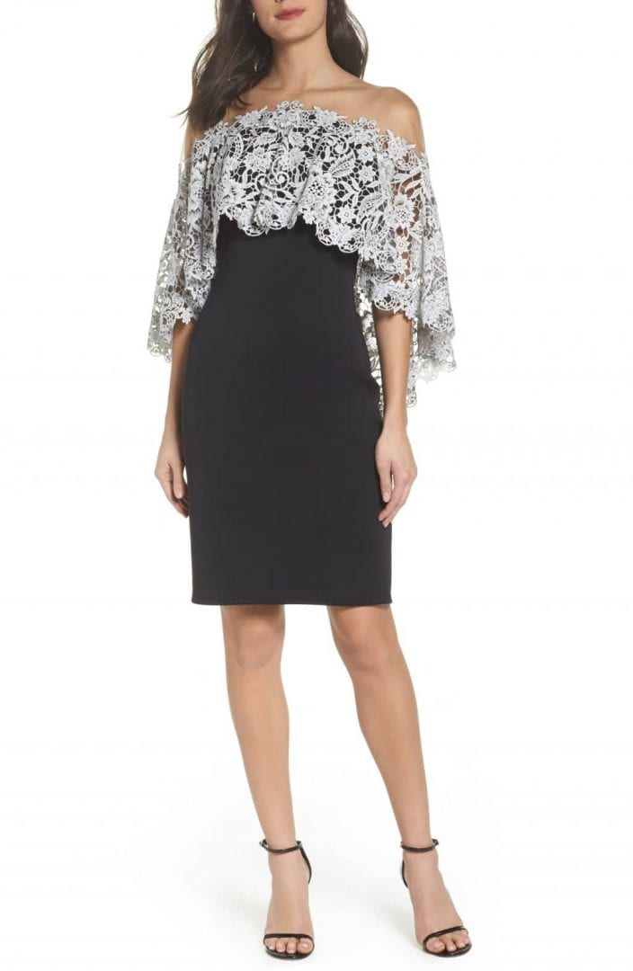 TADASHI SHOJI Illusion Neck Cape Black Ivory Dress