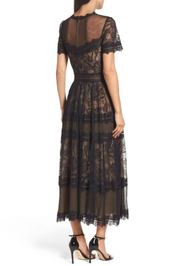 TADASHI SHOJI Lace Tea-Length Black / Nude Dress - We Select Dresses