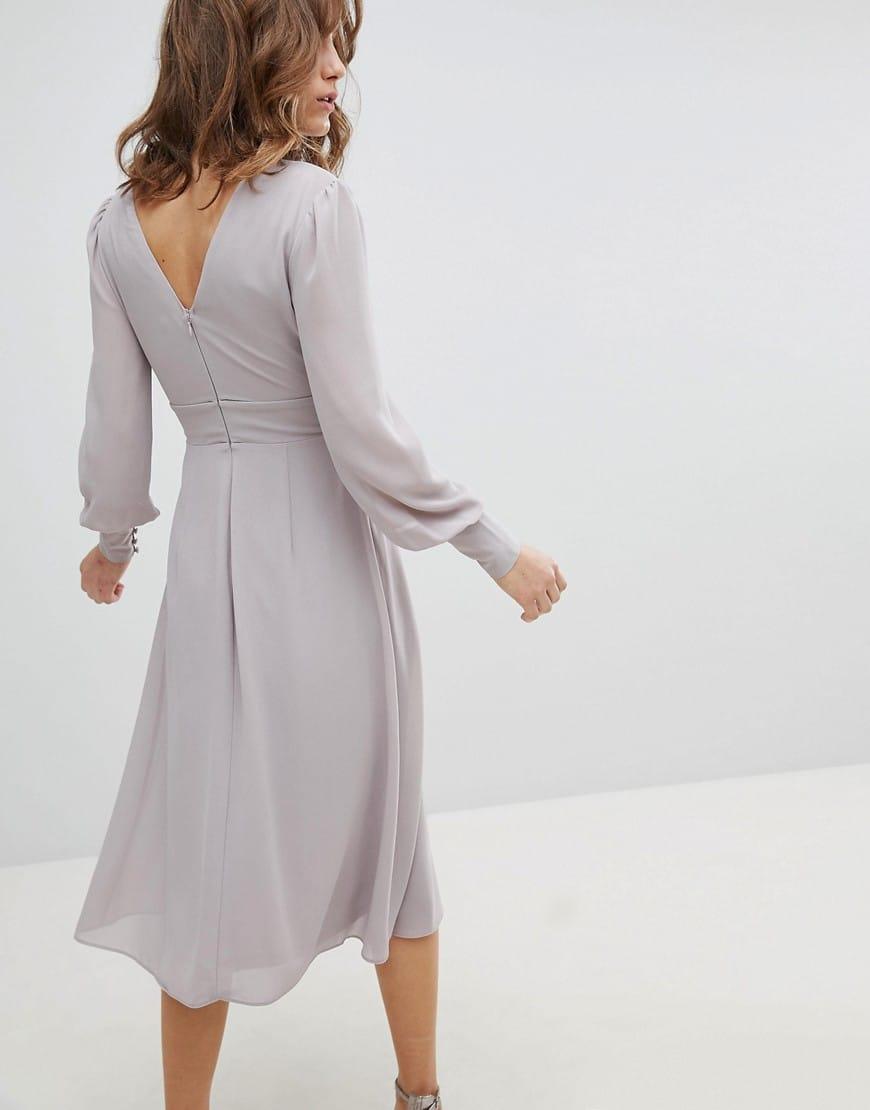 b983baae57b TFNC WEDDING Pleated Skirt Long Sleeve Midi Grey Dress - We Select ...