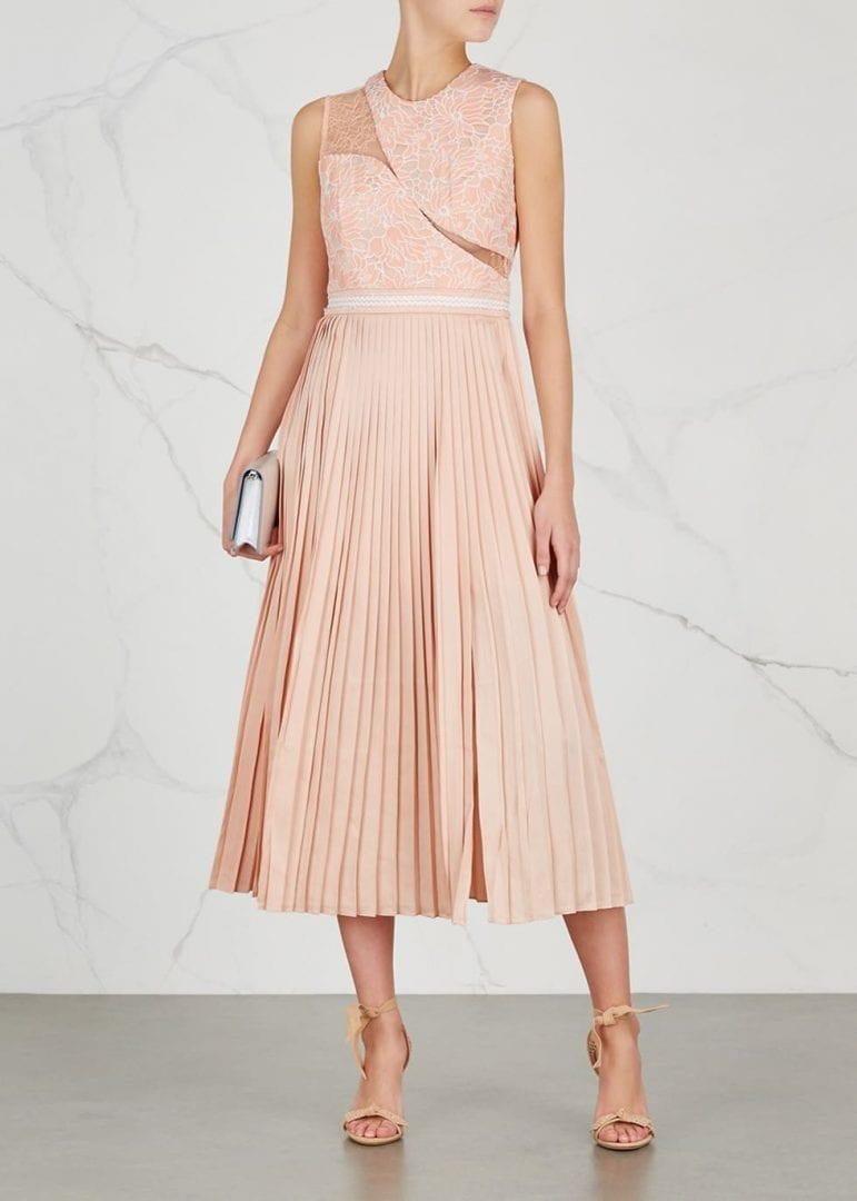 THREE FLOOR Starlight Pleated Satin Midi Peach Dress