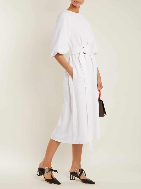 TIBI Mica Crepe Shirred Neck White Dress