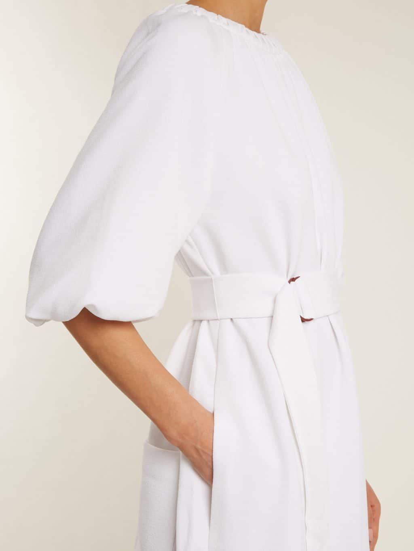 tibi mica crepe shirred neck white dress we select dresses