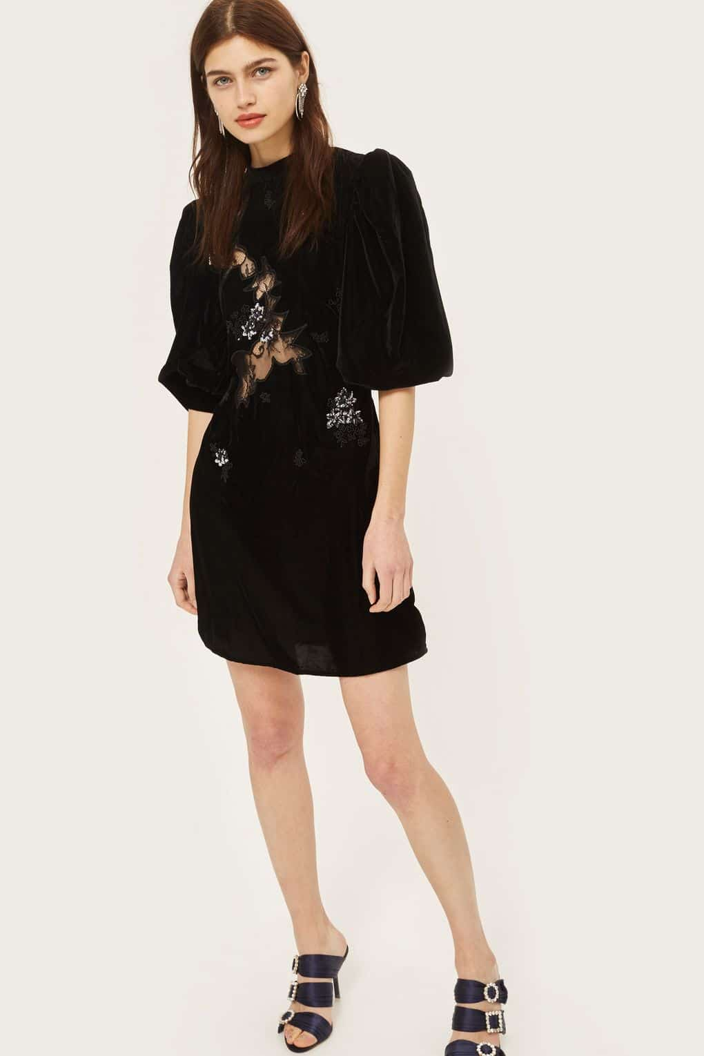 TOP SHOP Cutwork Lace Panel Black Dress