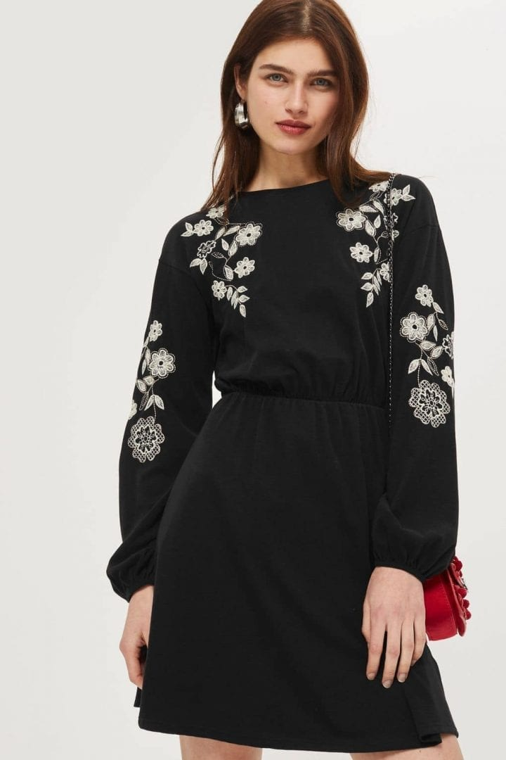 TOP SHOP Embroidered Balloon Sleeve Skater Black Dress - We Select ...