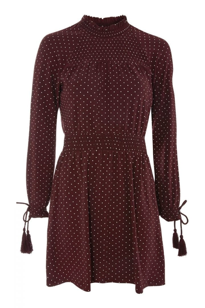 TOP SHOP Spotted Shirred Waist Mini Skater Oxblood Dress - We Select ... c1eb0e538