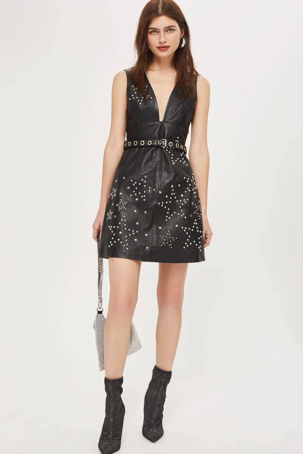 TOP SHOP **Star Studded Leather Mini Shift Black Dress