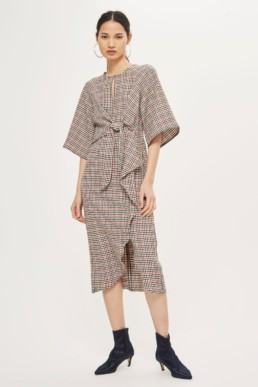 TOPSHOP Check Knot Front Midi Multicolor Dress