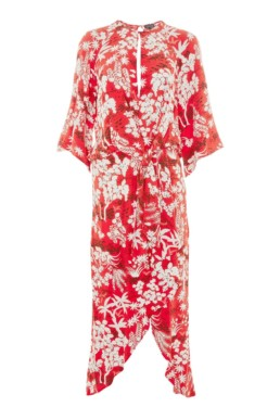 TOPSHOP Oriental Fern Knot Front Red Dress