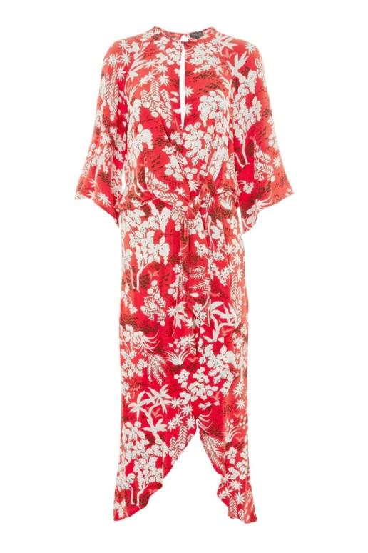 TOPSHOP Oriental Fern Knot Front Red Dress