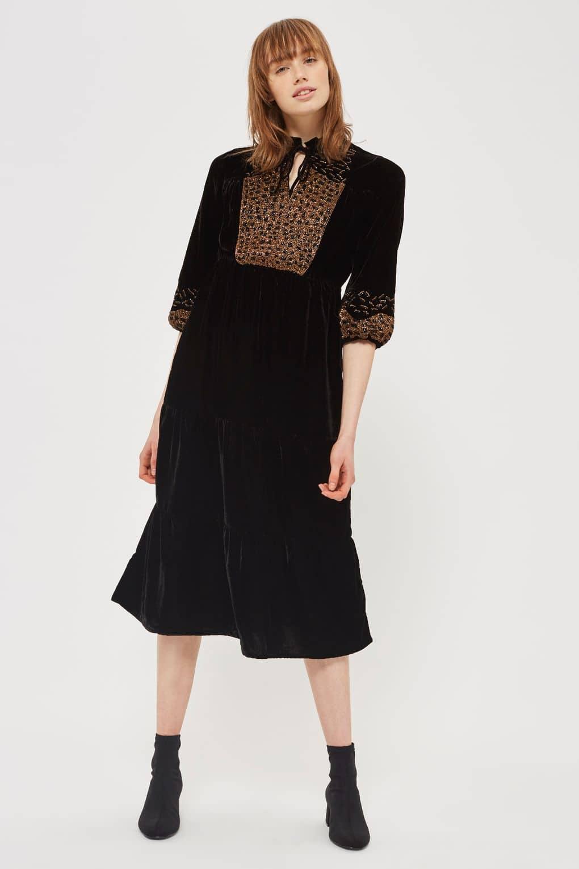TOPSHOP Sequin Velvet Smock Black Dress