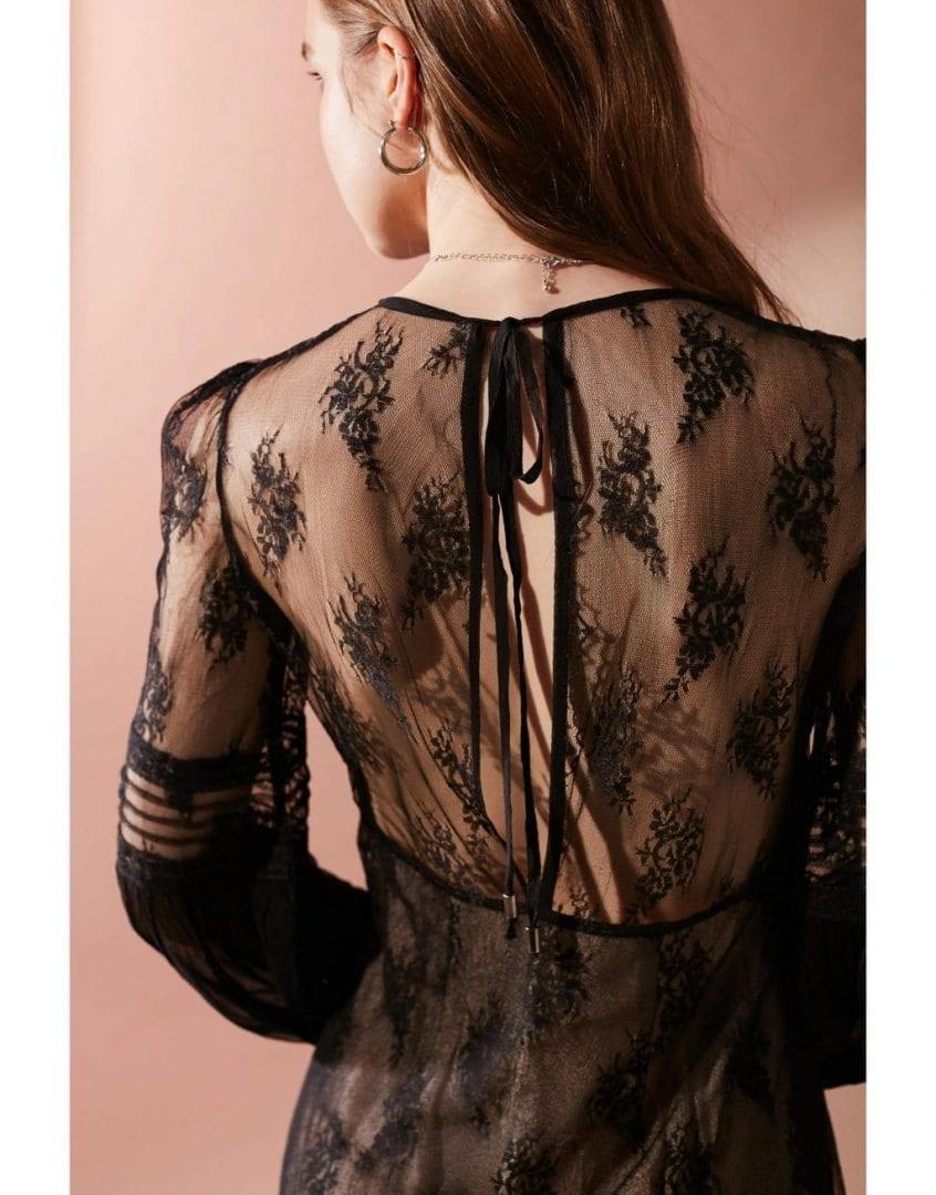 Uo Belladonna Embroidered Mesh Black Dress