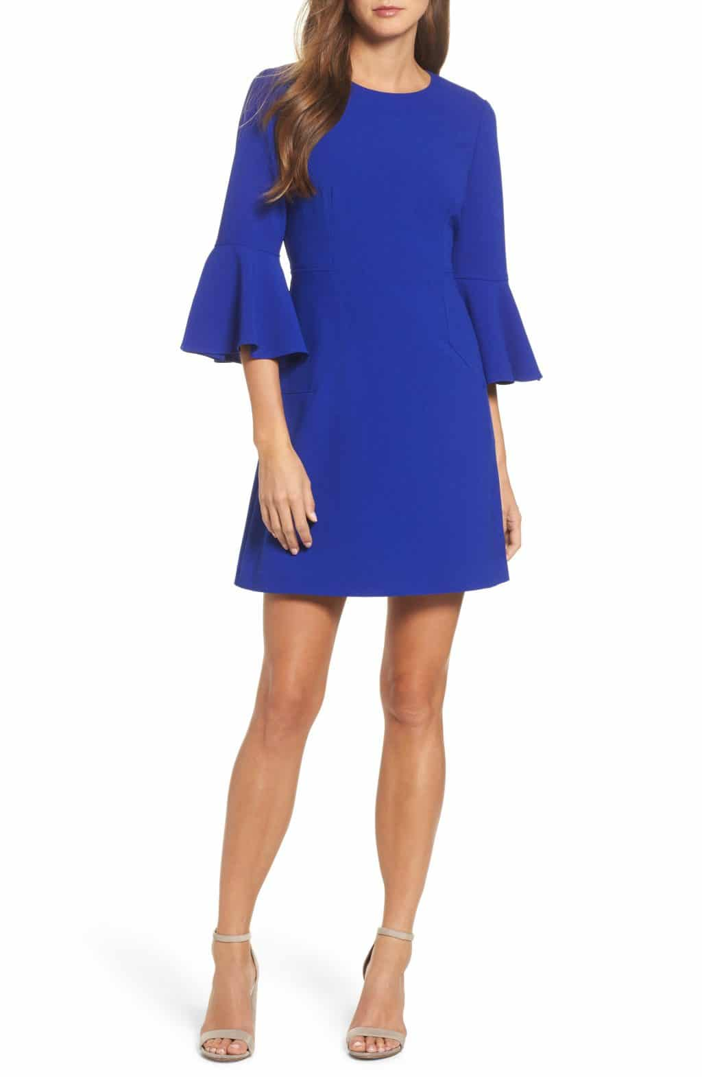 VINCE CAMUTO Bell Sleeve Cobalt Dress